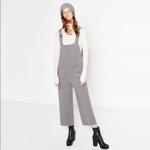 Zara knit jumpsuit wide leg cropped Small
