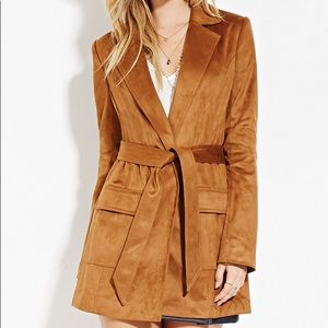 Faux suede belted trench coat in camel NWOT