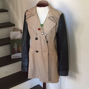 Express Leather Sleeve Trench Coat SZ S