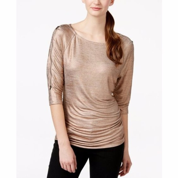 b53bf1d8898cab INC Tops - INC ROSE GOLD SHIMMER TOP SEXY FLATTERING NWOT
