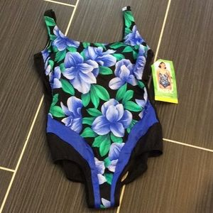 Pacific bathing suit size 18w blue green black NWT
