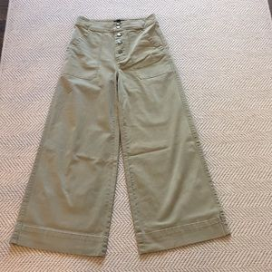 J. Crew Button Up Wide Culotte Crop Pant Sz 0 Army