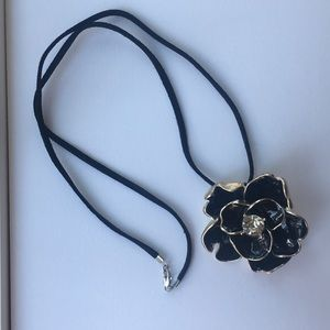 Black Flower Necklace with 2 interchangeable ropes