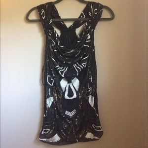 All Saints sequin silk top