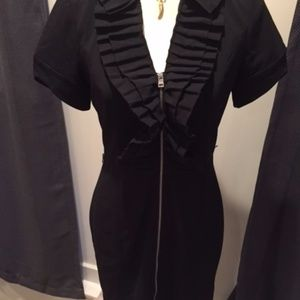 Marc New York Black Ruffle Neck Dress