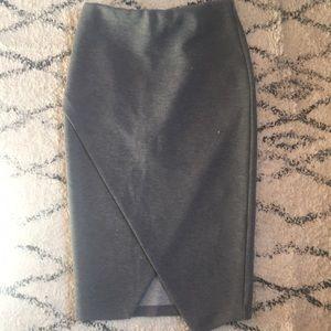 Asymmetrical Hem Wrap Midi Skirt