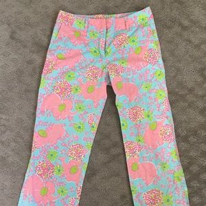 Lilly Pulitzer Capri Pants Cute Elephant print