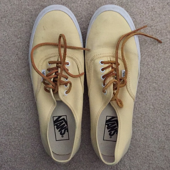 626e80f014fe06 Pale yellow Vans w  brown leather laces. M 5a1308c799086a2e390db220