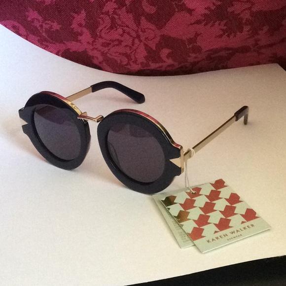 1b2ce532a95 Karen Walker - NWT! Navy Gold Maze Sunglasses