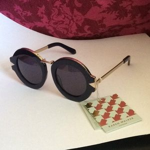 Karen Walker - NWT! Navy/Gold Maze Sunglasses