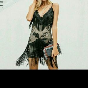 Halter sequined black lace dress