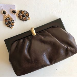 Vintage 1980's brown leather clutch