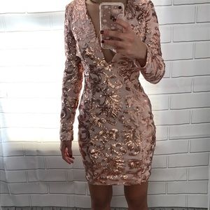Rose Gold Long Sleeve Party Dress
