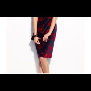 Talbots Velveteen Rose Print Skirt