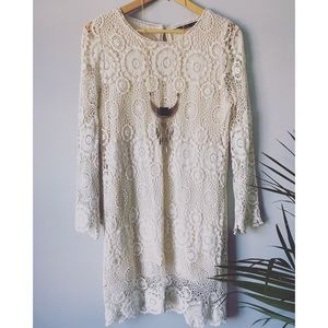 Zara Crochet Lined Crochet/Lace Tunic-Dress