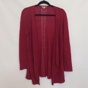 Eileen Fisher 100% Linen Raspberry Open Cardigan