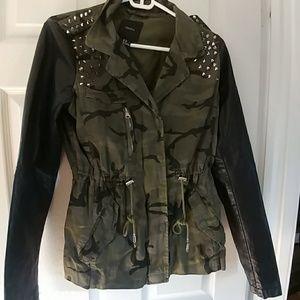 F21 Camo & Faux Leather Jacket
