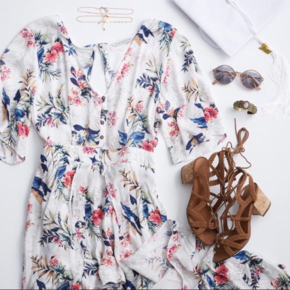 97447761275 American Eagle Outfitters Kimono Maxi Romper sz 10