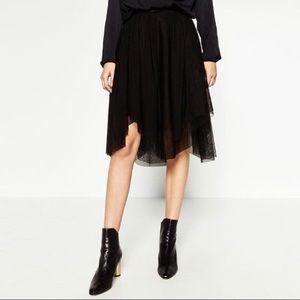Zara Black tulle knee skirt