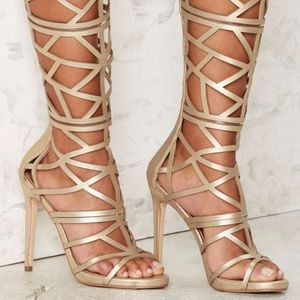 nasty gal devil may care cut out gold heels NEW