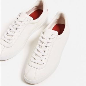 Zara white leather sneakers
