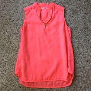 J Brand Pink Zip Blouse