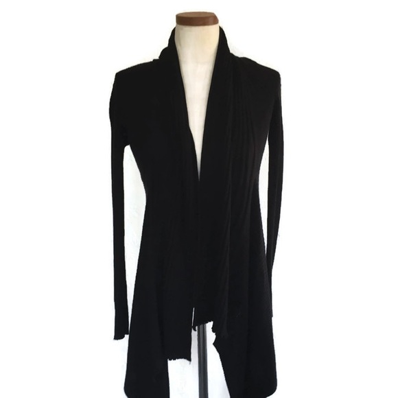 e2369e4f23a INC Black Cardigan Sweater Open Ribbed Hi Lo