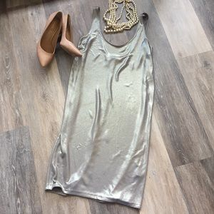 EUC Vince Liquid Pewter Metallic Tank Shift Dress