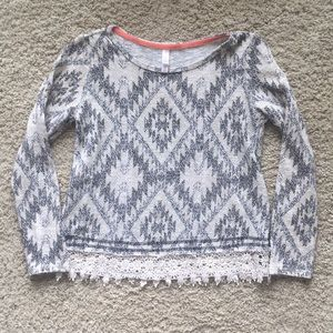 tribal sweater with lace hem