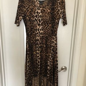 High-Low Leopard Print Dress with Sleeves