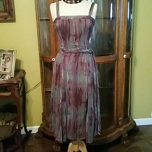BOHO TIE DYE WATER COLOR ZARA BASIC SILK DRESS S
