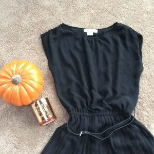 Michael Kors black high-low dress with belt