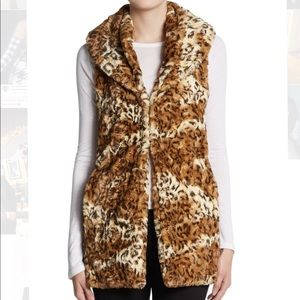 Alice and Olivia Leopard Print Faux-Fur Vest