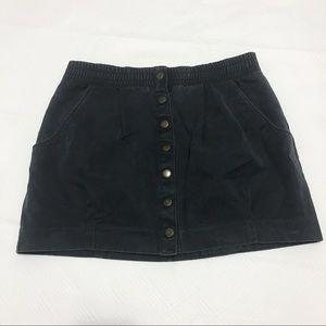 H&M charcoal gray button mini skirt