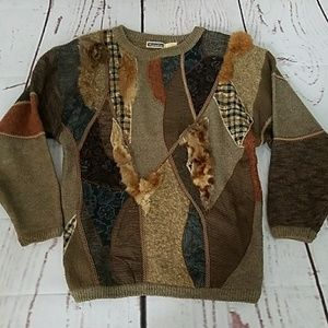 Vintage MarieaKim rabbit fur trim sweater m