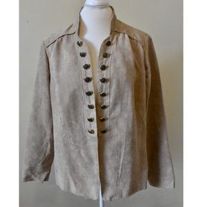 Taupe Faux Suede Military Jacket