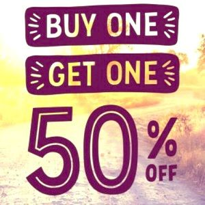 Buy one item and get the second item 50% off.