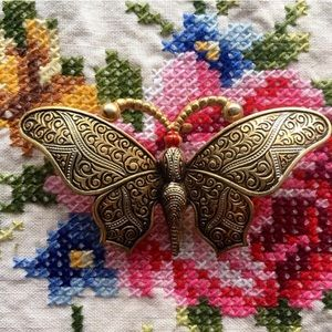 Vintage Brass Butterfly Brooch Pin
