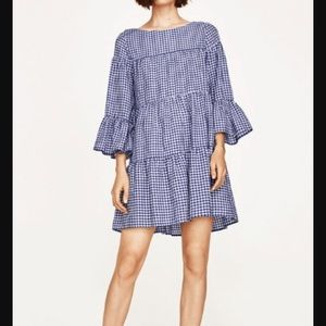 NWOT Zara Blue Gingham Dress