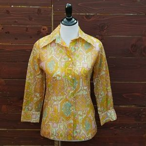 Vintage 60's Sheer Chiffon Atomic Pattern Blouse