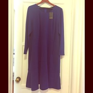 Eloqui royal blue flounce hem dress NWT