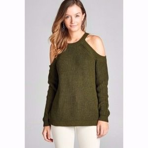 Long Sleeve Ribbed Knit Cold Shoulder Sweater