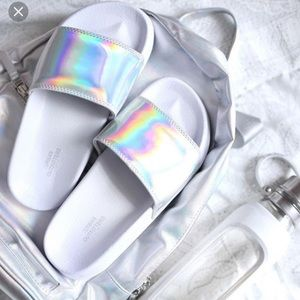 Urban outfitters holographic pool slides