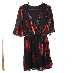 Velvet floral flowy dress