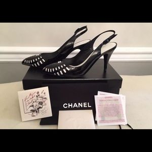 New Chanel black patent leather slingback heels!