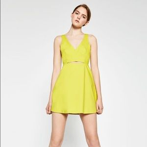 ZARA Tummy Cut Out Lime Green Dress