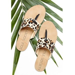 Leather Leopard Print Thong Sandals