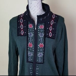 Christopher & Banks embroidered zip front sweater