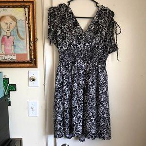 As U Wish dress, XL, black/white print