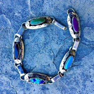 Vintage Navajo Sterling Mixed Gem Link Bracelet